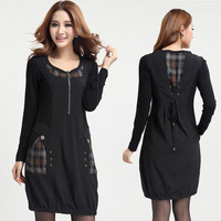 Women Plus Size XXXL Black Casual Drawstring Long Sleeve Dress with Plaids Montage Free Shipping ydx858