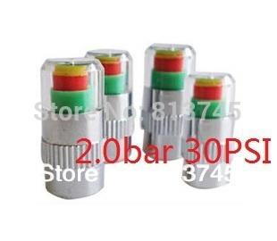 2SET = 8PCS car Tire Pressure Monitor Valve Stem Cap Sensor Indicator 3 Color Eye Alert 2.0bar 30PSI