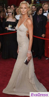 Made A Line V Neck Spaghetti Strap Backless Shiny Charlize Theron Prom Long Evening Gown Red Carpet Celebrity Dress Sexy