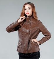 2013 Autumn Female Leather sheepskin coat,women's Motorcycle Leather jackets,5XL,6XL,Leather jacket of Cultivate one's morality