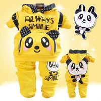 New Fashion cartoon girl's clothes set cute bear design children hoodies + pants for little girl autumn spring costume kids wear