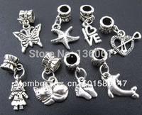 Wholesale Fashion Antique Silver Vintage Charms Mix Stars & Cats Pendants Fit Bracelets Men Jewelry  Findings     200pcs Z228