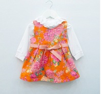 Children's clothes in the autumn of 2013 with baby girls female flowers stretch denim vest skirt sundress--AS0118