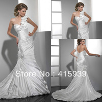 Free shipping!High quality one shoulder pleats lace up long wedding dress bridal gown HS110