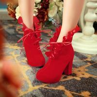 Black thick scrub ultra high heel platform sweet ruffle short martin high boots women's shoes