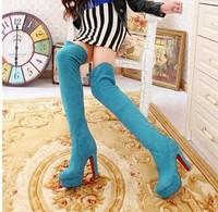 Elastic scrub velvet thick heel platform over-the-knee 25pt size