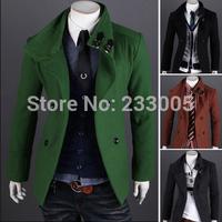 Sobretudo Casacos De La Masculino Winter Mens Slim Fit Double Breasted Leather Patchwork Wool Coat Men Jacket Pea Coat Overcoat