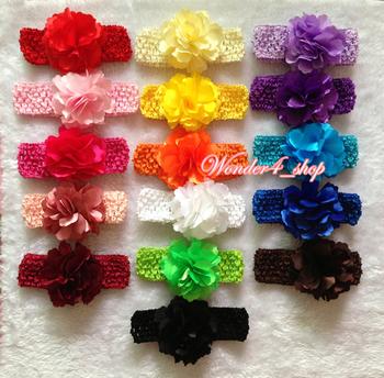 "hair accessories 10pcs/lot, 3.3"" Multi Colored chiffon satin Flower with newborn Top TuTu crochet Baby Headbands 16colors"