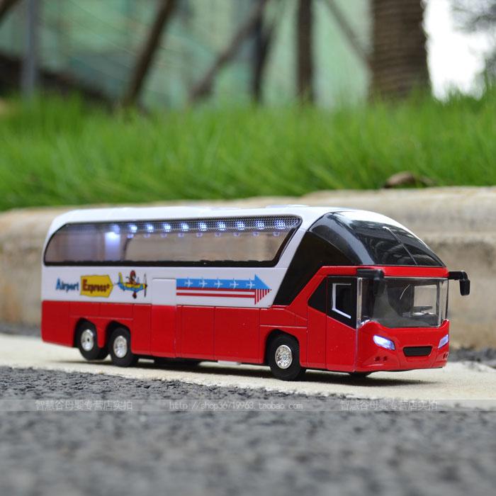 Alloy car model luxury tour coach alloy big bus bus voice belt(China (Mainland))