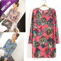 Free Shipping Korean Retro Print Long Sleeve Bottoming Dress for Autumn