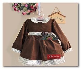 2013 children one piece baby girls Dark coffee corduroy long sleeve tutu party dress toddler kids dot lapel princess dress 1555