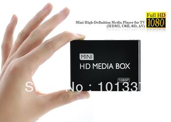 FREE SHIPPING Full Hd 1080P HDMI Media Player RMVB RM H.264 MKV AVI VOB Hdd Player HDMI Output
