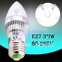 2pcs 6W 3x2W Pure White E27 Home Candle Bulb LED Light Lamp 85-265V 110V 220V 230V