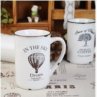vintage enamel cup nostalgic literature and art glass milk cup/coffee cup/rural water glass,300-400ML 11.5*8cm