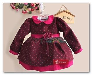 Fashion autumn children jujube red party dress toddler kids red spot lapel princess dress baby girls long sleeve tutu dress 1557