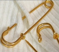 Jewelry Findings 65mm gold plated brooch safety pin