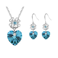 Accessories heart crystal earrings necklace set g002 collcction