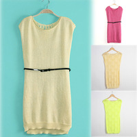 Hot Women Crew Neck Sleeveless Party Dress Back Crochet Hollow Out Long Section Tank Knit Dress With Belt 4 Colors WF-4996