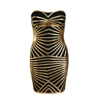 2013 New arrival black with gold piece HL Bandage Dress sexy strapless Celebrity dresses for Women Cocktail dress