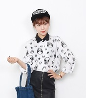 66girls pattern shirt autumn women's