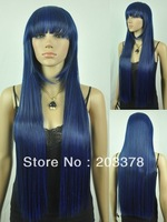 Capless Long Top Grade Quality Synthetic Blue mix Costume Party Wig 10pcs/lot mix order free shipping