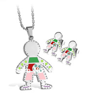 Jewelry,stainless steel set,Fashion Small Bear In Little Boy style,Earrings And pendant,Hot Selling Top quality(T0009)