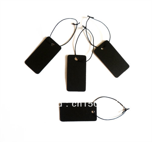 500PCS Black Blank Jewelry Label Tags with Elastic String , free shipping(China (Mainland))
