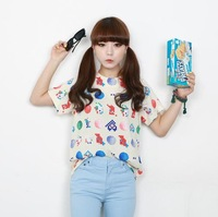 Girls preppy style ulzzang all-match fashion fruit short-sleeve T-shirt pattern