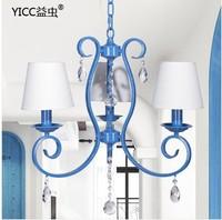 Mediterranean blue iron lamp chandelier 9015-3 restaurant blue crystal chandelier bedroom