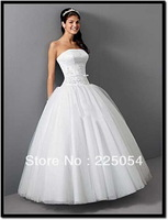 New Custom  White / Ivory Embroidery Floor-length  Bridal Gown Wedding Dresses