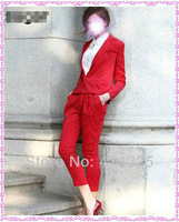 2013 retro British style red vertical striped leisure suits with coat +pant for women dropship