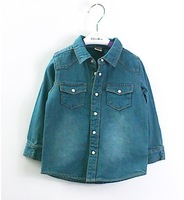 Freeshipping 5pcs/lot Dark Blue Longsleeve Demin Shirt for Boy / Girl Causal Children shirt Kids clothing