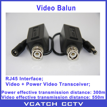 Vcatch 5 Pairs/lot BNC Coax CCTV Active Video Balun With Power Transceiver Cable