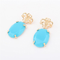 Factory Outlet blue turquoise resin inlay drop earrings fashion star luxury earrings women 18k gold plated metal earrings SC02