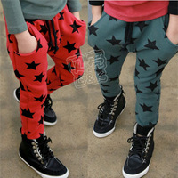 2013 autumn five-pointed star boys clothing girls clothing child harem pants long trousers kz-1356