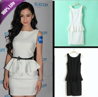 Fashion Package Hip Skirt Classic Star Style Black and White Flouncing Sleeveless Slim Dress for Slim Ladies