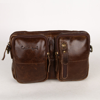 Handmade personalized first layer of cowhide waist pack messenger bag large capacity genuine leather man bag