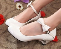 Sweet 2013 preppy style single shoes japanned leather wedges women's bow shoes solid color