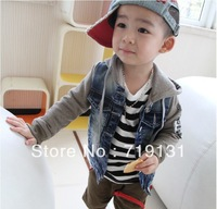 2013 Korean children coat boys clothes washed cotton hooded denim jacket stitching labeling explosion models