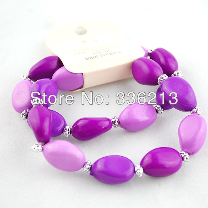 2013 Autumn Winter Fashion 3-Tone Purple Acrylic Bead 2-Strand Stretch Bracelet with Silver Plated Spacers Free Shipping! MS04-1(China (Mainland))