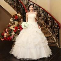 Sweet elegant flower  new wedding dress white princess   Korean style off shoulder