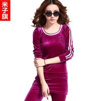 Free shipping New fashion Women's velvet casual set spring and autumn gold velvet sweatshirt sportswear  Culottes Good quality