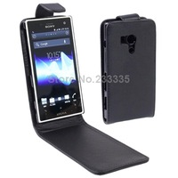 free shipping Hot Sale Vertical Flip Leather Mobile Phone Case for Song Xperia Acro S / LT26W, Black