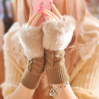 Free shipping (5 pieces/lot) Warm Knitted Faux Fur Fingerless Winter Gloves Arm Warmer Mitten for Women