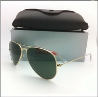 Free Shipping New Fashion High Quality Designer sunglasses Gold Green +Box+Cloth hot selling
