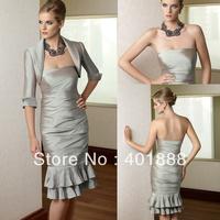 Modest Free Jacket Silver Grey Knee Length Taffeta Dresses Evening Plus Size Mother Of The Bride Dresses