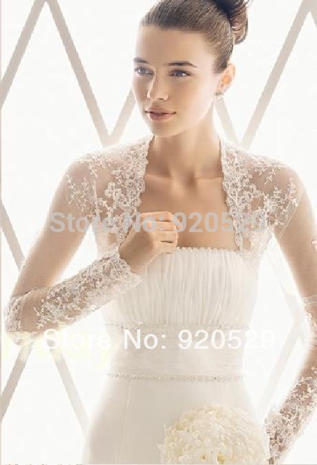 2014 New Long Appliques Sleevees Wedding Jacket Bridal Shawl Wrap Black Gray Bolero Quality Lace Jacket Silver Bolero Jackets(China (Mainland))