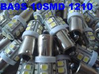 FreeShipping wholesales BA9S 10SMD 3528/1210  3 chip BA9S h6w led car bulb