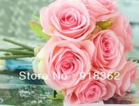 Fashion European Style!Free Shipping(2bouquet/Lot)Good Quality,Silk Rose Wedding Bride Bouquet,w/7pcs Flower,2C can Mix Per Lot