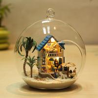 DIY Doll House Mini Furniture Dollhouse Diy glass ball mini romantic mini gift aegean sea  Free Shipping